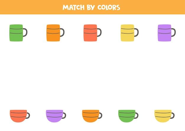 Abbina tazze da tè e tazze da caffè in base al colore. gioco logico educativo per bambini.