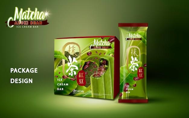 Matcha azuki bean ice bar packageillustration