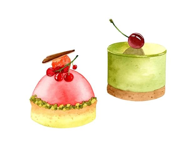 Insieme di elementi del dessert dell'acquerello di torte matcha