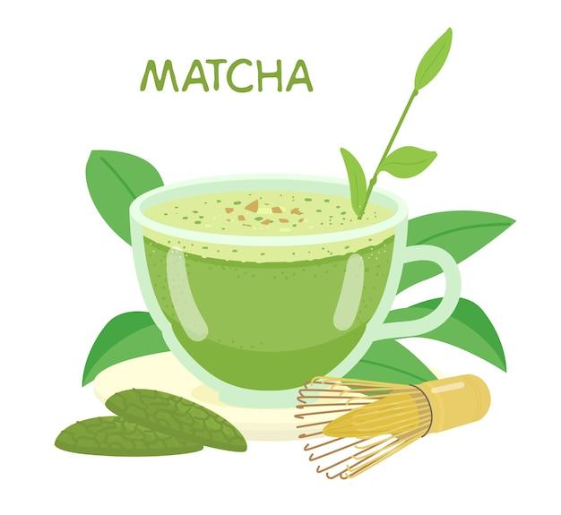 Matcha in tazza di vetro illustrazione. biscotti con matcha, frusta, foglie di tè.