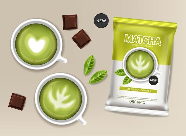 Vettore di polvere di tè verde matcha realistico. il posizionamento del prodotto simula i progetti di etichette per bevande salutari