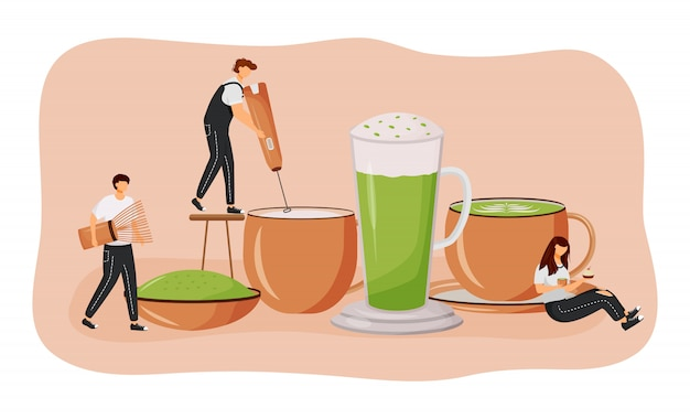Illustrazione piana di concetto del latte di matcha. tè verde in polvere uomo che fa bevanda calda. bevanda nutriente giapponese. personaggi dei cartoni animati barista 2d per il web design. idea creativa di coffeeshop