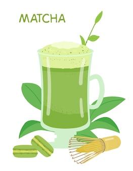 Matcha in illustrazione tazza di vetro alto. macarons con matcha, frusta, foglie di tè.