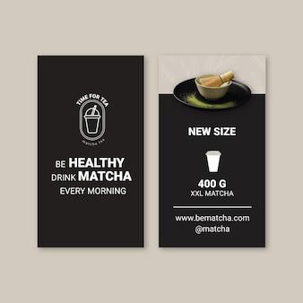 Biglietto da visita fronte-retro al tè matcha