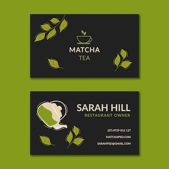 Modello orizzontale biglietto da visita fronte-retro di tè matcha