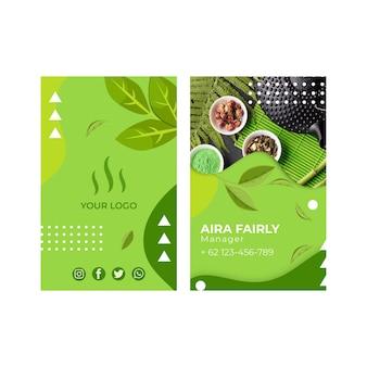 Modello biglietto da visita verticale bifacciale di tè matcha