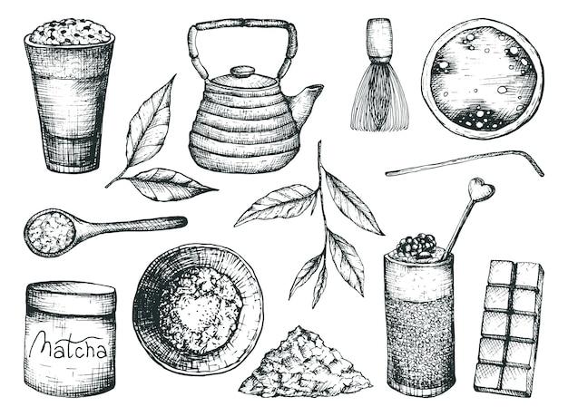 Tè matcha in uno stile di disegno a mano libera isolato su uno sfondo bianco. tazze con tè, foglie e polvere, teiera e bicchieri con un contorno di bevande, illustrazione vettoriale