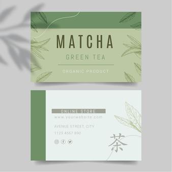 Biglietto da visita orizzontale di tè matcha