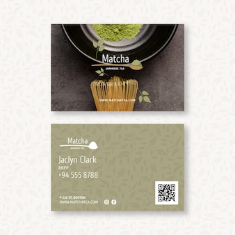 Biglietto da visita bifacciale orizzontale al tè matcha