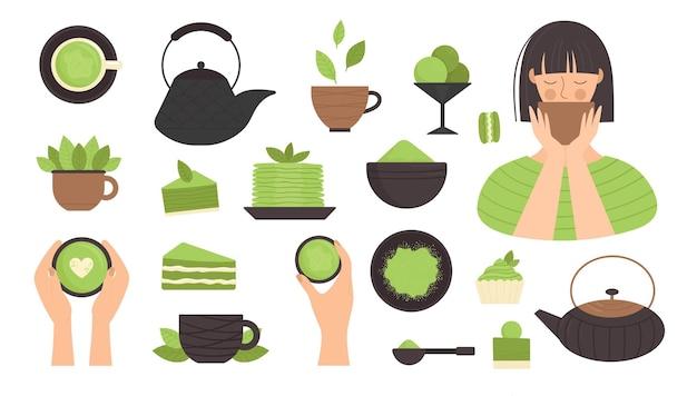 Tè matcha, set di elementi in stile piatto