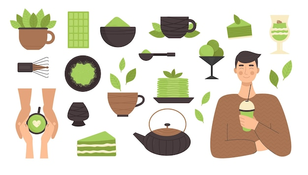 Tè matcha, set di illustrazione di elementi in stile piatto