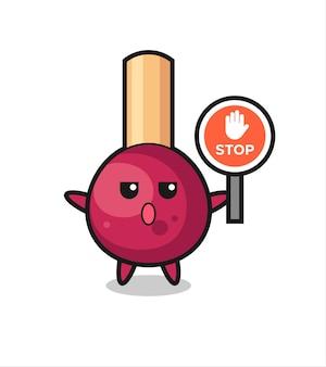 Corrisponde all'illustrazione del personaggio che tiene un segnale di stop, design in stile carino per t-shirt, adesivo, elemento logo