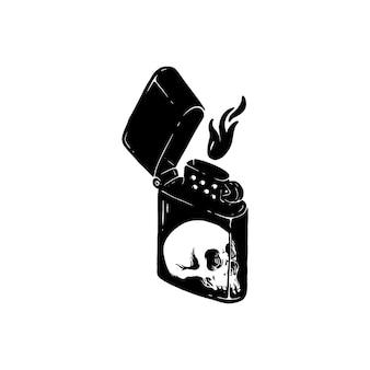 Fiammiferi e disegno dell'illustrazione del cranio