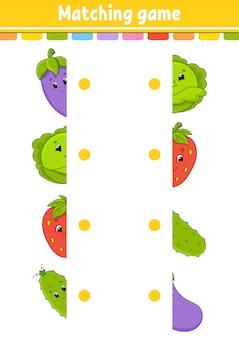 Gioco di abbinamento. disegna una linea. foglio di lavoro per lo sviluppo dell'istruzione. pagina delle attività con immagini a colori.