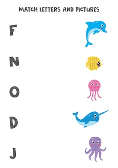Gioco di abbinamento per bambini. collega l'immagine e la lettera con cui inizia. foglio di lavoro alfabeto educativo per bambini. animali marini simpatico cartone animato.