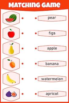 Gioco di abbinamento per bambini. collega immagine e parole. foglio di lavoro educativo per bambini.
