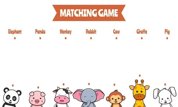 Gioco di abbinamento per bambini e istruzione con simpatici animali doodle fumetto icona illustrazione design piatto stile cartone animato