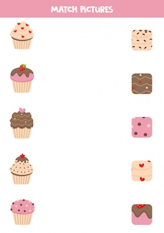 Gioco di abbinamento per bambini in età prescolare. muffin carini e i loro modelli.