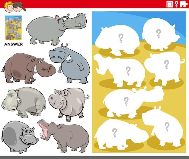 Gioco di forme abbinate con ippopotami dei cartoni animati
