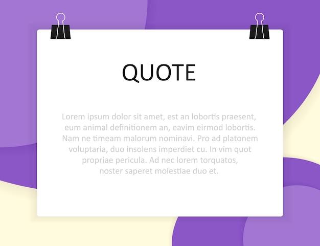 Stile di design del materiale e rettangolo di citazione con informazioni di testo di esempio