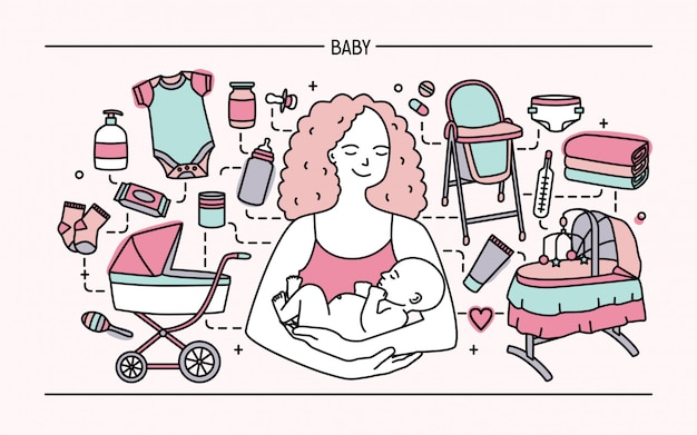 Concetto di maternità. banner orizzontale con madre e bambino, accessori per bambini diversi. line art illustrazione colorata.