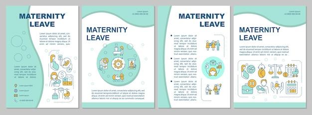 Modello di brochure blu congedo di maternità. volantino, opuscolo, stampa di volantini, copertina con icone lineari. benefici e complicazioni. layout vettoriali per presentazioni, relazioni annuali, pagine pubblicitarie