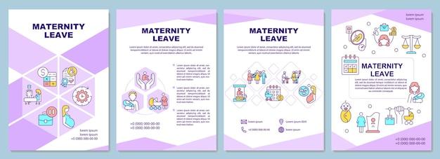 Modello di brochure congedo di maternità. volantino, opuscolo, stampa di volantini, copertina con icone lineari. benefici e complicazioni. layout vettoriali per presentazioni, relazioni annuali, pagine pubblicitarie