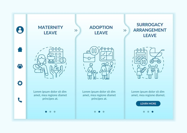Modello vettoriale di onboarding delle opzioni di congedo di maternità