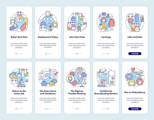 Set di schermate della pagina dell'app mobile di onboarding relativo al congedo di maternità. torna al lavoro: 5 passaggi, istruzioni grafiche con concetti. modello vettoriale ui, ux, gui con illustrazioni a colori lineari Vettore Premium