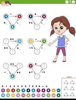 Pagina del foglio di lavoro educativo di calcolo matematico