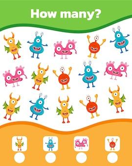 Gioco colorato di matematica per bambini. quanti simpatici mostri ci sono. illustrazione vettoriale.