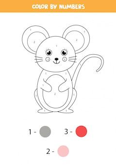 Colorazione matematica per bambini. mouse simpatico cartone animato.