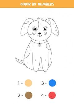 Pagina da colorare matematica per bambini. cane di cartone carino di colore.