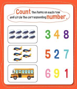 Foglio di lavoro del numero di conteggio matematico