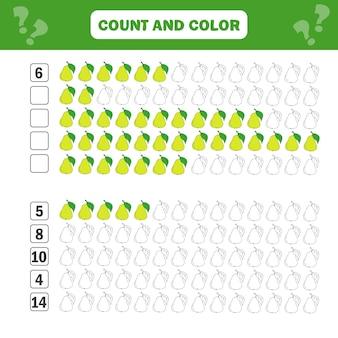 Gioco educativo di matematica per bambini. equazioni di conteggio. foglio di lavoro per l'aggiunta: conta e colora