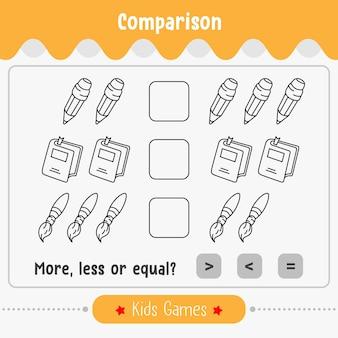 Confronto del gioco matematico del numero per bambini più piccoli o uguali