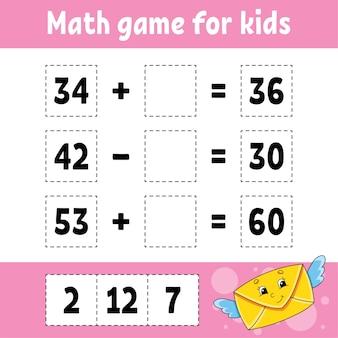 Gioco di matematica per bambini. foglio di lavoro per lo sviluppo dell'istruzione. pagina delle attività con immagini. gioco per bambini.