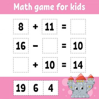 Gioco di matematica per bambini. foglio di lavoro per lo sviluppo dell'istruzione. pagina delle attività con immagini.