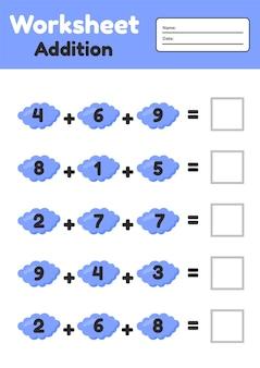 Gioco di matematica per bambini in età prescolare e scolare. contare e inserire i numeri corretti. aggiunta. nuvole.