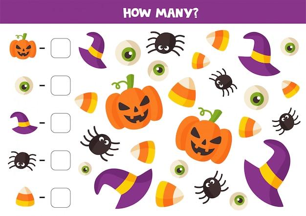 Gioco di matematica con elementi di halloween simpatici cartoni animati.