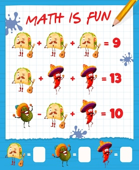 Foglio di lavoro del gioco di matematica con tacos messicani di catoon, avocado e peperoncino, labirinto di educazione vettoriale. puzzle di matematica per bambini con addizione e sottrazione di numeri matematici e cibo