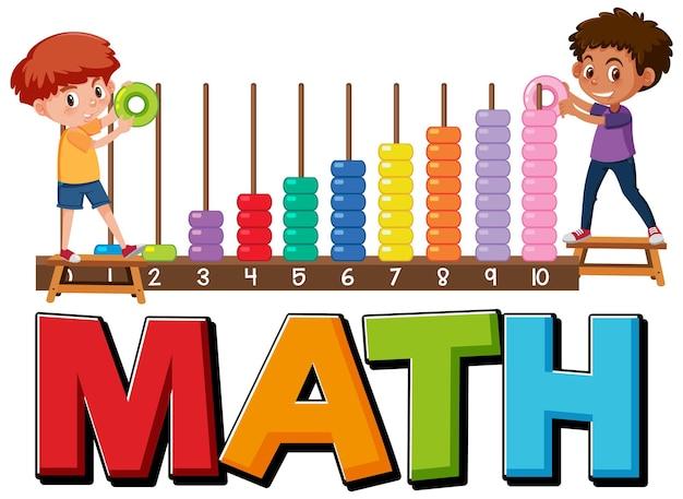 Icona matematica con bambini e strumenti matematici