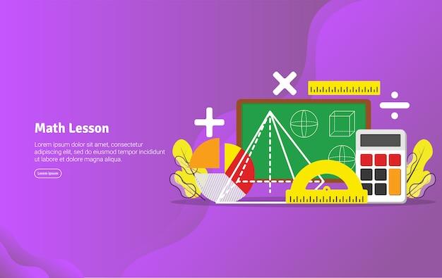 Insegna educativa dell'illustrazione di concetto di lezione di per la matematica