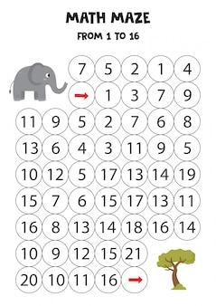 Labirinto di matematica con elefante simpatico cartone animato e albero di safari.