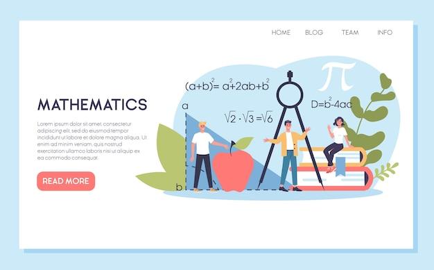 Materia scolastica di matematica. apprendimento della matematica, idea di educazione e conoscenza. scienza, tecnologia, ingegneria, educazione matematica. banner web.