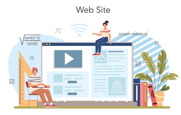 Servizio online di materie scolastiche di matematica o piattaforma che studiano gli studenti