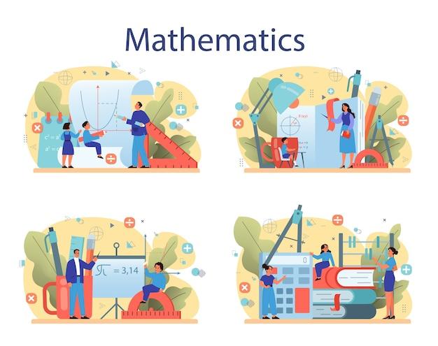 Set di materie scolastiche di matematica. apprendimento della matematica, idea di educazione e conoscenza. scienza, tecnologia, ingegneria, educazione matematica.