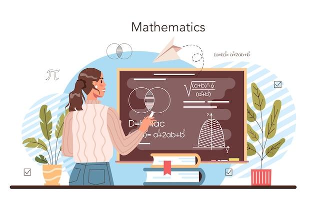 Materia scolastica di matematica. studenti che studiano matematica e algebra. scienza, tecnologia, ingegneria. idea di moderna conoscenza accademica. illustrazione vettoriale piatto isolato