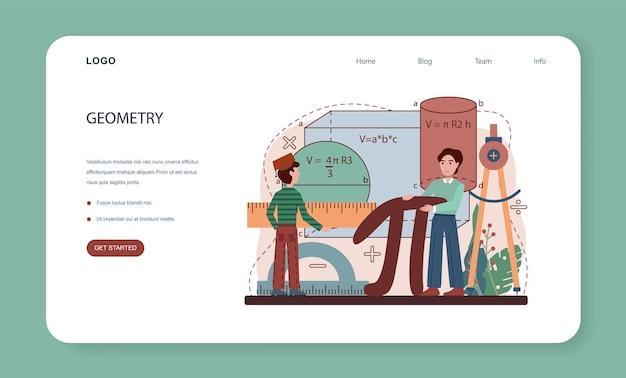 Banner web o pagina di destinazione di materia scolastica di matematica. studenti che studiano