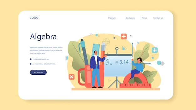 Banner web o pagina di destinazione della materia della scuola di matematica